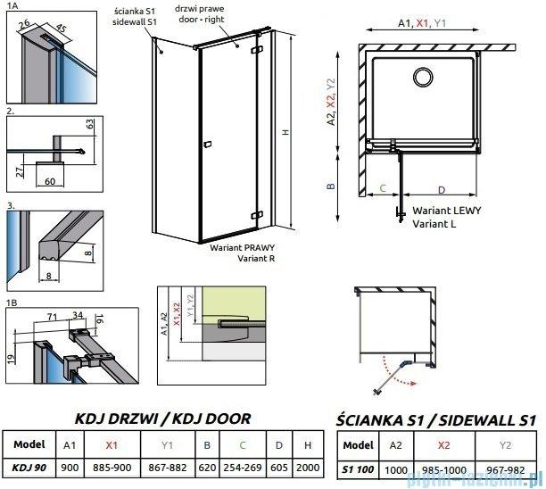 Radaway Essenza New Kdj kabina 90x100cm prawa szkło przejrzyste 385044-01-01R/384052-01-01