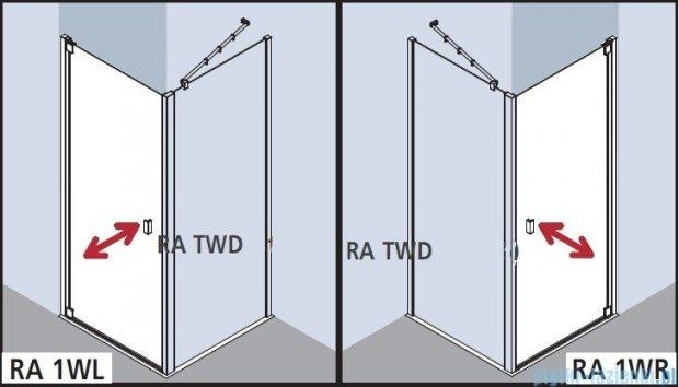 Kermi Raya Drzwi wahadłowe, 1-skrzydłowe, lewe, szkło przezroczyste, profile srebrne 75x200 RA1WL07520VAK