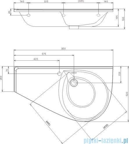 Ravak Umywalka Avocado Comfort 95x53 cm lewa z otworami XJ9L1100000