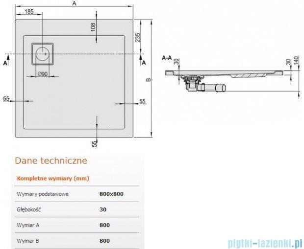 Sanplast Brodzik kwadratowy Space Line 80x80x3cm + syfon 615-110-0020-01-000