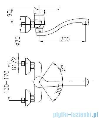 KFA OBSYDIAN Bateria zlewozmywakowa ścienna 5100-910-00