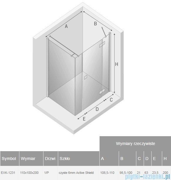 New Trendy Reflexa Plus 110x100x200 cm kabina prostokątna prawa przejrzyste EXK-1231