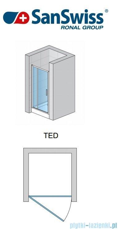SanSwiss Top-Line TED Drzwi 1-częściowe 90cm profil biały TED09000407