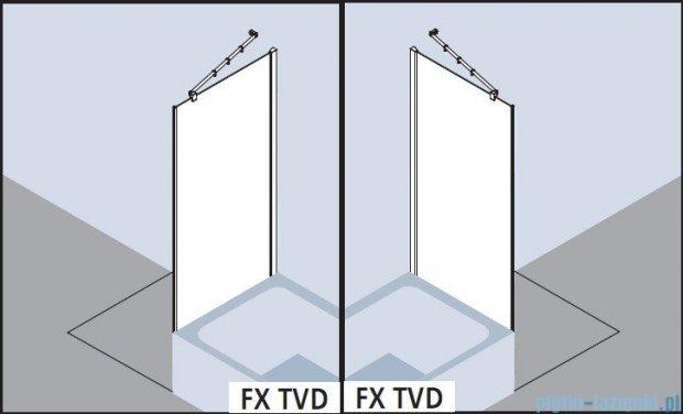 Kermi Filia Xp Ściana boczna skrócona obok wanny, szkło przezroczyste z KermiClean, profile srebrne 75x175cm FXTVD07517VPK