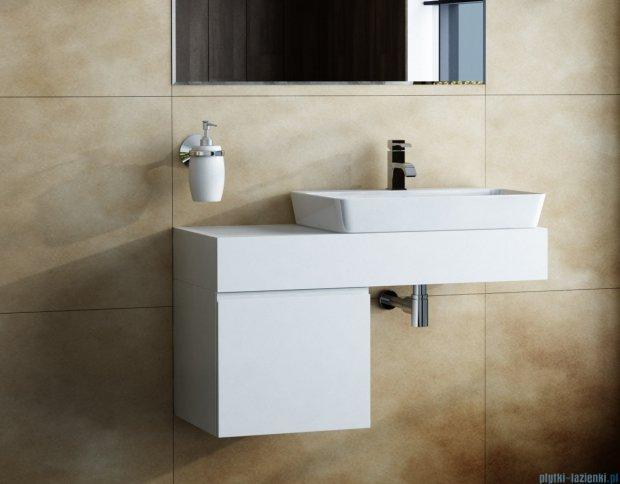 Antado Combi szafka z blatem i umywalką Conti biały/jasne drewno ALT-140/45GT-WS/dn+ALT-B/4C-1000x450x150-WS+UCT-T