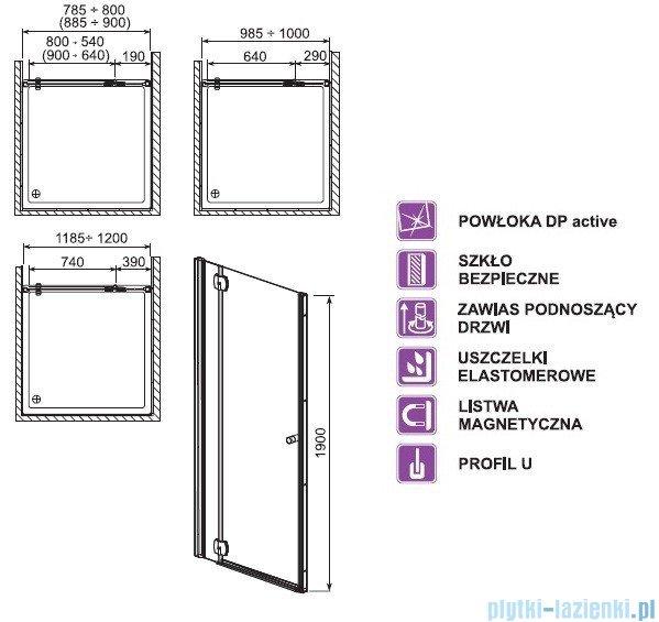 Aquaform Sol drzwi wnękowe De Luxe 100cm szkło przejrzyste lewe 06066