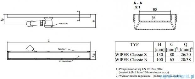 Wiper Odpływ liniowy Classic Ponente 60cm bez kołnierza mat P600MCS100