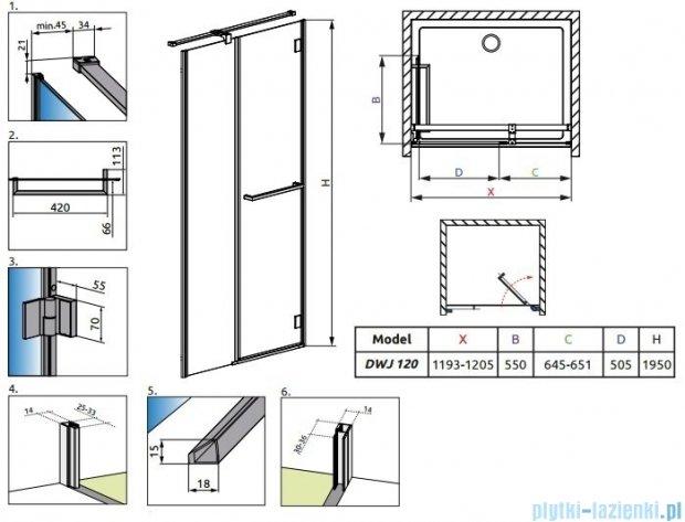 Radaway Carena DWJ Drzwi prysznicowe 120 prawe szkło brązowe 34332-01-08NR