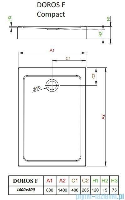 Radaway Doros F Compact brodzik prostokątny 140x80x12cm SDRFP1480-05