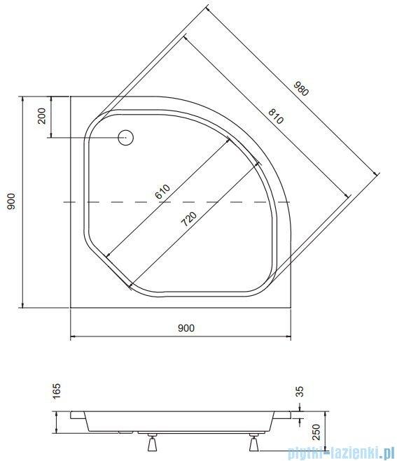 Sea Horse Sigma zestaw kabina natryskowa półokrągła - niska 90x90x162 chinchilla + brodzik BKZ2/3/K