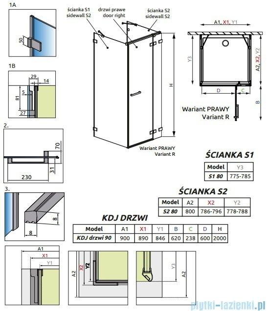 Radaway Euphoria KDJ+S Kabina przyścienna 80x90x80 prawa szkło przejrzyste 383020-01R/383051-01/383031-01