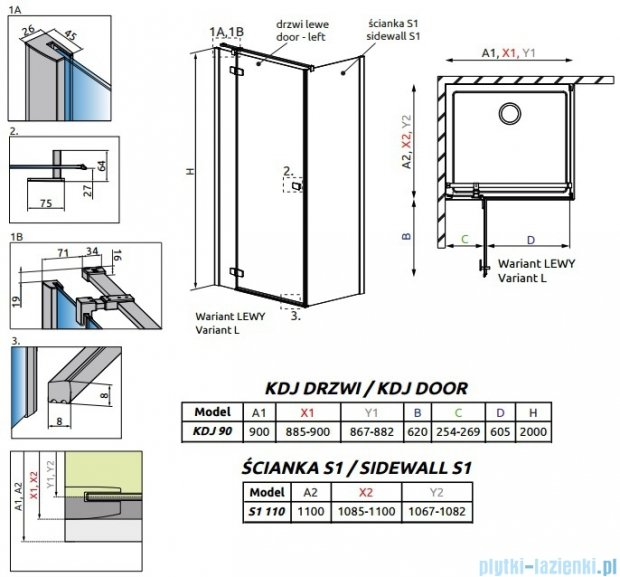 Radaway Fuenta New Kdj kabina 90x110cm lewa szkło przejrzyste 384044-01-01L/384053-01-01