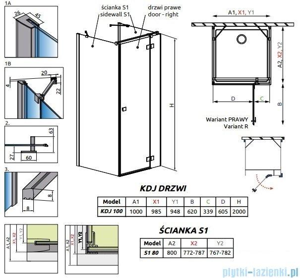 Radaway Essenza New Kdj+S kabina 80x100x80cm prawa szkło przejrzyste 385022-01-01R/384051-01-01/384051-01-01