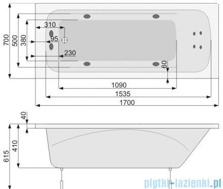 Poolspa Wanna prostokątna KLIO 170x70 + hydromasaż system SD3 PHPA410SD3C0000