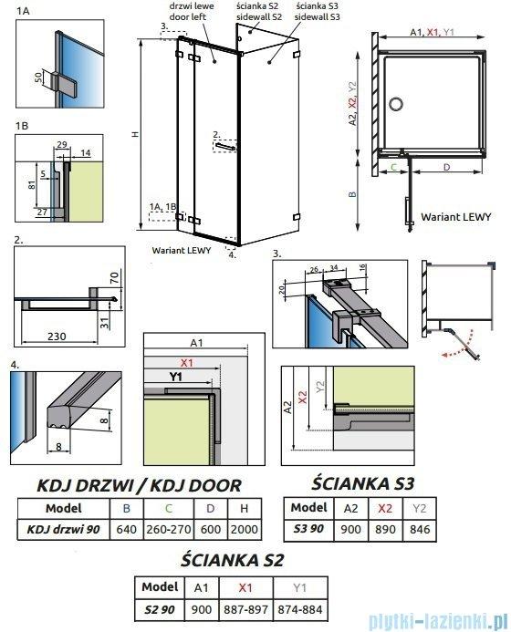 Radaway Euphoria KDJ P Kabina przyścienna 90x90x90 lewa szkło przejrzyste + brodzik Delos C + syfon 383044-01L/383030-01/383035-01/SDC0909-01