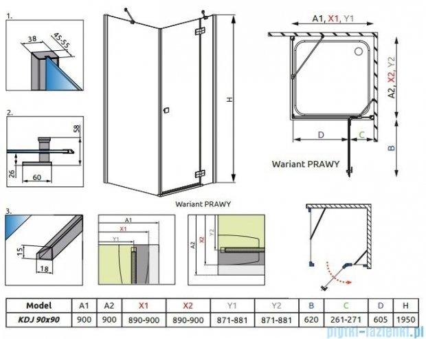 Radaway Almatea Kdj Gold kabina kwadratowa 90x90 Prawa szkło intimato 32102-09-12NR