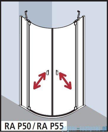 Kermi Raya Kabina ćwierćkolista, drzwi wahadłowe, szkło przezroczyste, profile srebrne 120x120x200 RAP5512020VAK