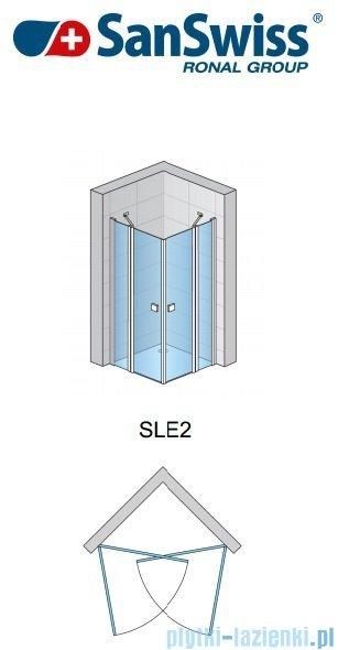 SanSwiss Swing Line SLE2 Wejście narożne 80cm profil biały Lewe SLE2G08000407