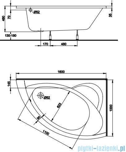 Koło Neo Plus Wanna asymetryczna 160x100cm Prawa XWA0760