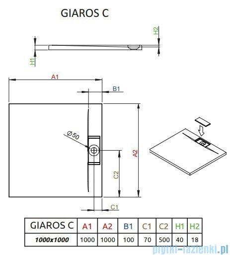 Radaway Giaros C Brodzik kwadratowy 100x100x4cm M3GRC1010