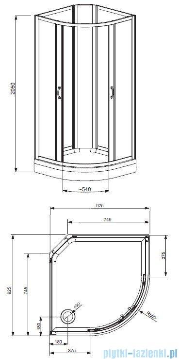 Radaway Quattra Kabina półokrągła 925×925 szkło przejrzyste, grafitowe satinato  + brodzik + panel 33003-01-01N,33103-01-52N