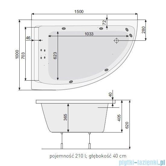 Poolspa Viva Klio wanna asymetryczna 150x100 lewa + hydromasaż system SD1 PHA2A10SD1C0000