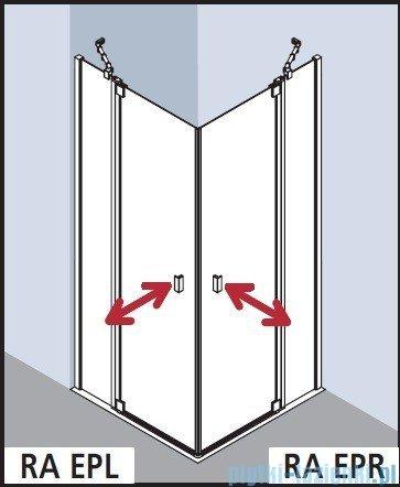 Kermi Raya Wejście narożne, 1 połowa, prawa, szkło przezroczyste z KermiClean, profile srebrne 100x200 RAEPR10020VPK