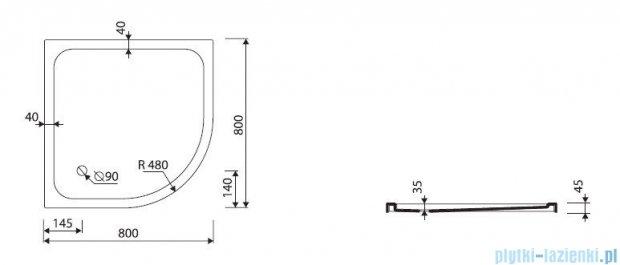 Marmorin Ceti 80 brodzik półokrągły 80x80 cm biały 185080201