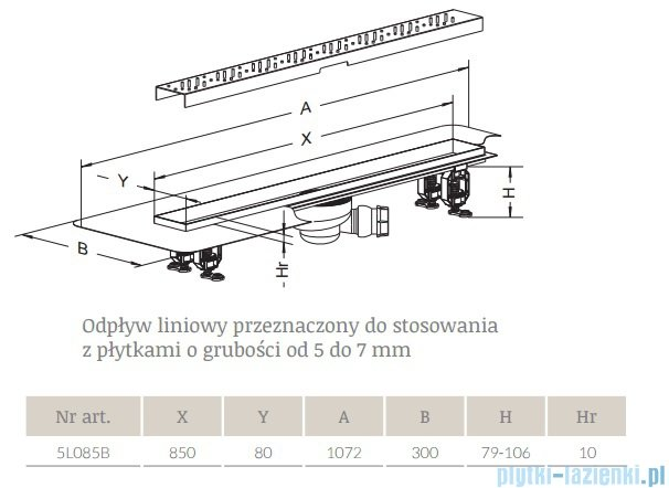 Radaway Quadro Odpływ liniowy 85x8cm 5L085B,5R085Q
