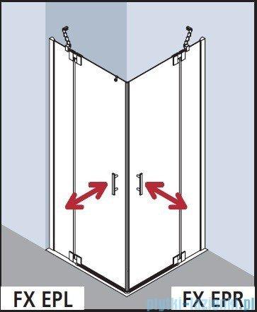 Kermi Filia Xp Wejście narożne, jedna połowa, prawa, szkło przezroczyste KermiClean, profil srebro 100x200cm FXEPR10020VPK