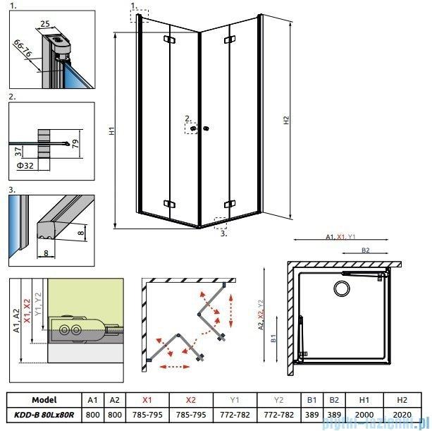 Radaway Fuenta New Kdd-B kabina 80x80cm szkło przejrzyste 384070-01-01L/384070-01-01R