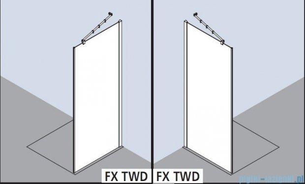 Kermi Filia Xp Ściana boczna z profilem przyściennym, szkło przezroczyste, profile srebrne 80x200cm FXTWD08020VAK