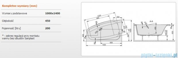 Sanplast Free Line Wanna asymetryczna lewa+stelaż WAL/FREE 140x100+ST27, 610-040-0840-01-000