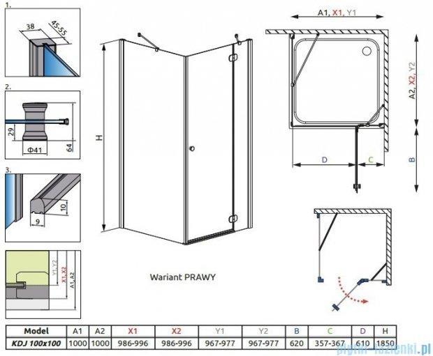 Radaway Torrenta Kdj Kabina prysznicowa 100x100 prawa szkło grafitowe 32444-01-05NR
