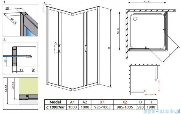 Radaway Premium Plus C Kabina kwadratowa 100x100 szkło przejrzyste 30443-01-01N