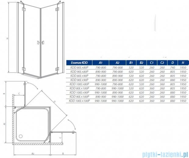 Radaway Essenza KDD kabina 90x90 szkło brązowe + Brodzik Delos C + Syfon