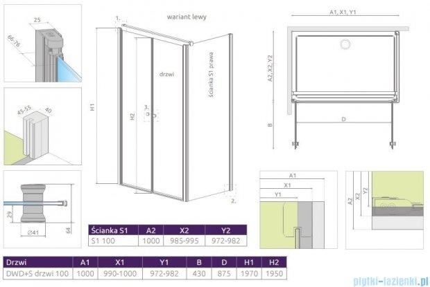 Radaway Eos II DWD+S kabina 100x100 lewa szkło przejrzyste 3799492-01/3799412-01R