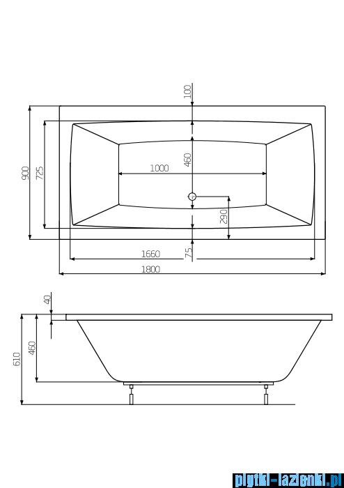 Roca Vita wanna 180x90cm z hydromasażem Smart WaterAir Plus A24T086000