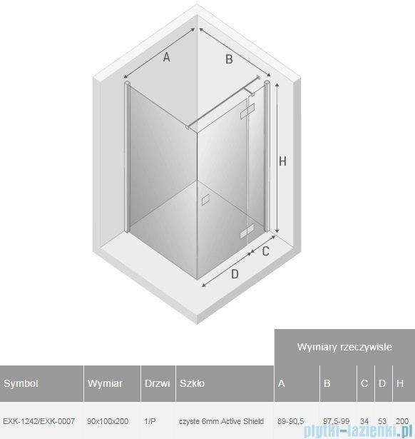 New Trendy Reflexa 90x100x200 cm kabina prostokątna prawa przejrzyste EXK-1242/EXK-0007