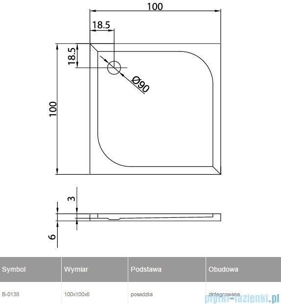 New Trendy Cantare brodzik kwadratowy posadzkowy 100x100 B-0138