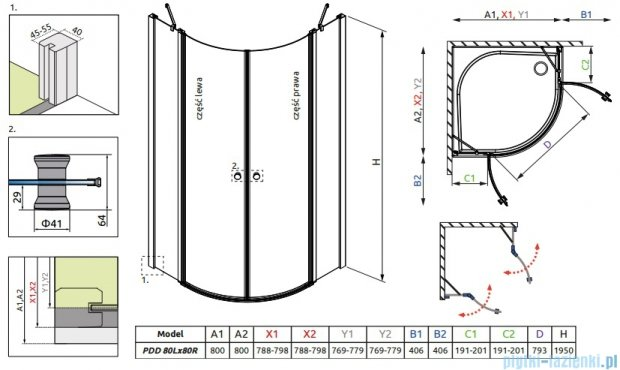 Radaway Eos II PDD kabina prysznicowa 80x80 szkło przejrzyste 3799470-01L/3799470-01R