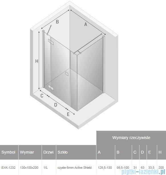 New Trendy Reflexa Plus 130x100x200 cm kabina prostokątna lewa przejrzyste EXK-1232