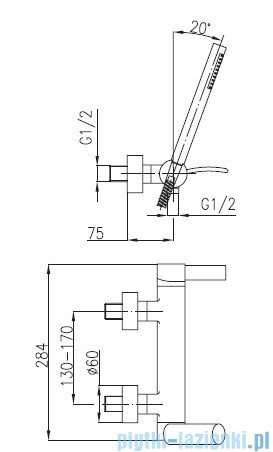 KFA MALACHIT Bateria natryskowa ścienna 4406-510-00