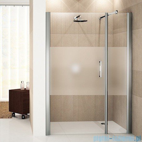 Novellini Drzwi do wnęki z elementem stałym GIADA G+F 90 cm lewe szkło przejrzyste profil srebrny GIADNGF90S-1B