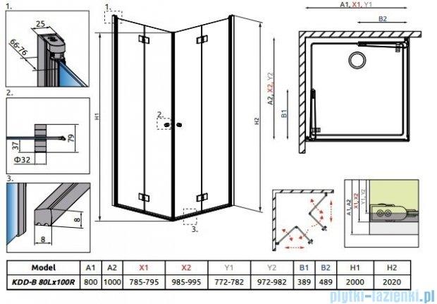 Radaway Essenza New Kdd-B kabina 80x100cm szkło przejrzyste 385070-01-01L/385072-01-01R