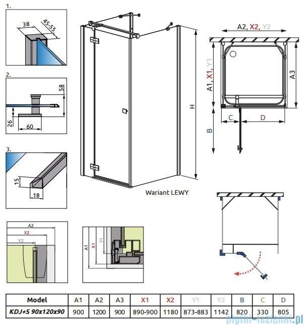 Radaway Kabina prysznicowa Almatea KDJ+S 90x120x90 lewa szkło przejrzyste 31553-01-01L
