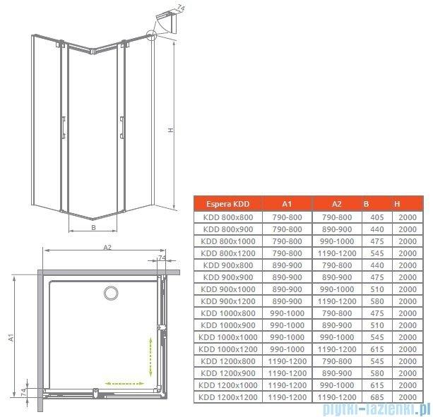 Radaway Espera KDD Kabina prysznicowa 80 część prawa szkło przejrzyste 380150-01R