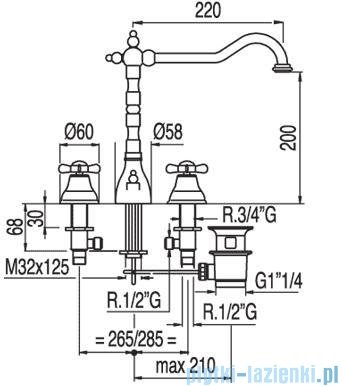 Tres Retro-Tres Bateria umywalkowa z korkiem automatycznym 1.29.105.61