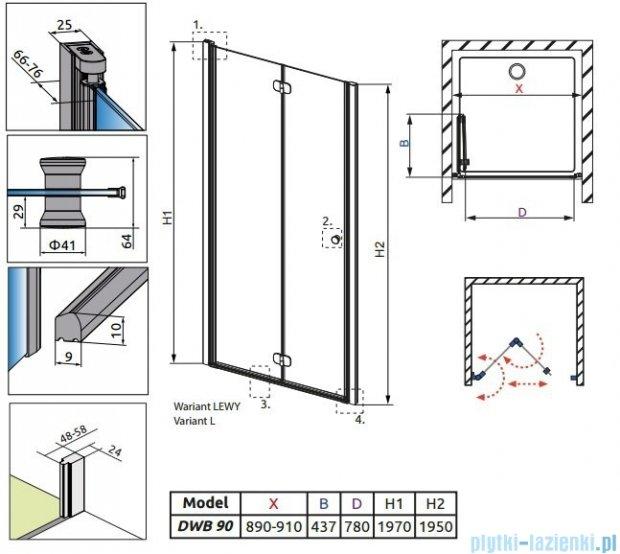 Radaway Eos DWB Drzwi wnękowe 90 lewe szkło intimato + brodzik Delos C + syfon 37803-01-12NL