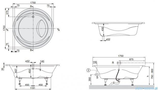 Villeroy&Boch Aqualoop Wanna w Specjalnym kształcie 175x175   UBA175AQU9V-01